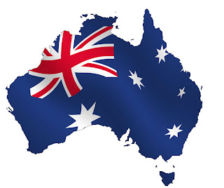 Outline of the country Australia with Australian flag inside the borders