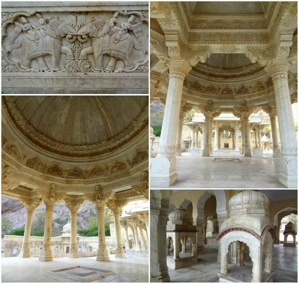 gaitor gaitore cenotaphe maharadja jaipur inde marbre moghol chhatri