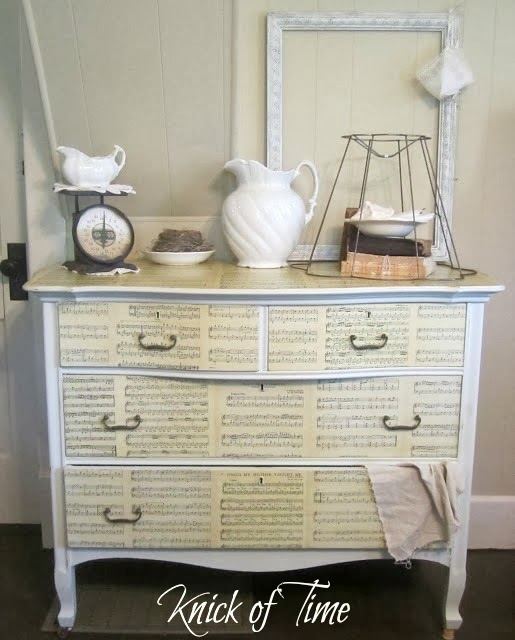 Repurposed Sheet Music Dresser by http://knickoftimeinteriors.blogspot.com/