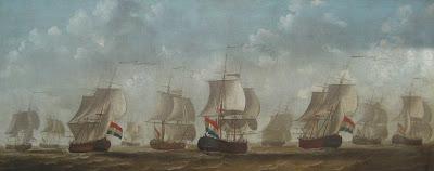 Schilderij vervaardigd door Engel Hoogerheyden (Middelburg 1740-1809), voorstellende 10 snauwschepen van de Middelburgsche Commercie Compagnie, waaronder 'De Eenigheijd' (10de van links, begin eerste reis 1761, einde laatste reis 1767).