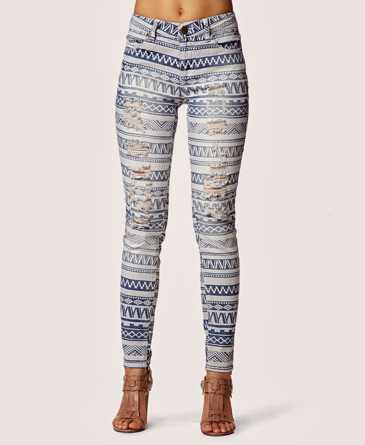 Tribal Print Skinny Jeans
