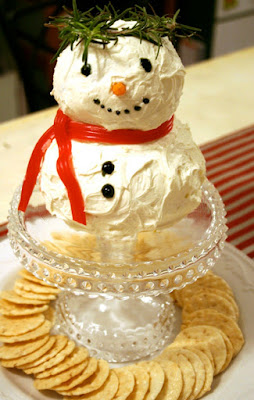 Snowman made from soft cheese