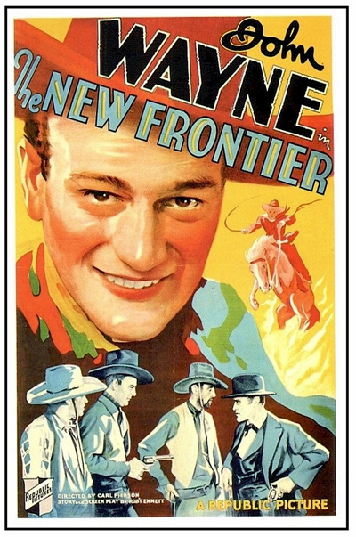 printables, classic posters, free download, graphic design, movies, retro prints, theater, vintage, vintage posters, western, John Wayne, The New Frontier - Vintage Western Cowboy Movie Poster
