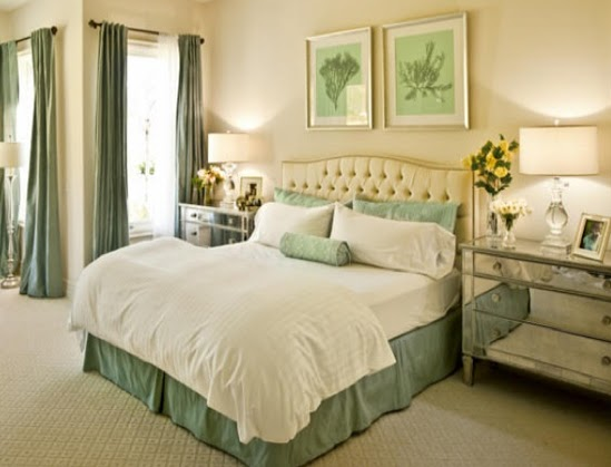 The shade of mint green you use in the bedroom can have a slight brown tint if this is the direction you choose in terms of color scheme and ambiance. You can mix and match various similar tones of the same color and create smooth transitions towards complementary tones.
