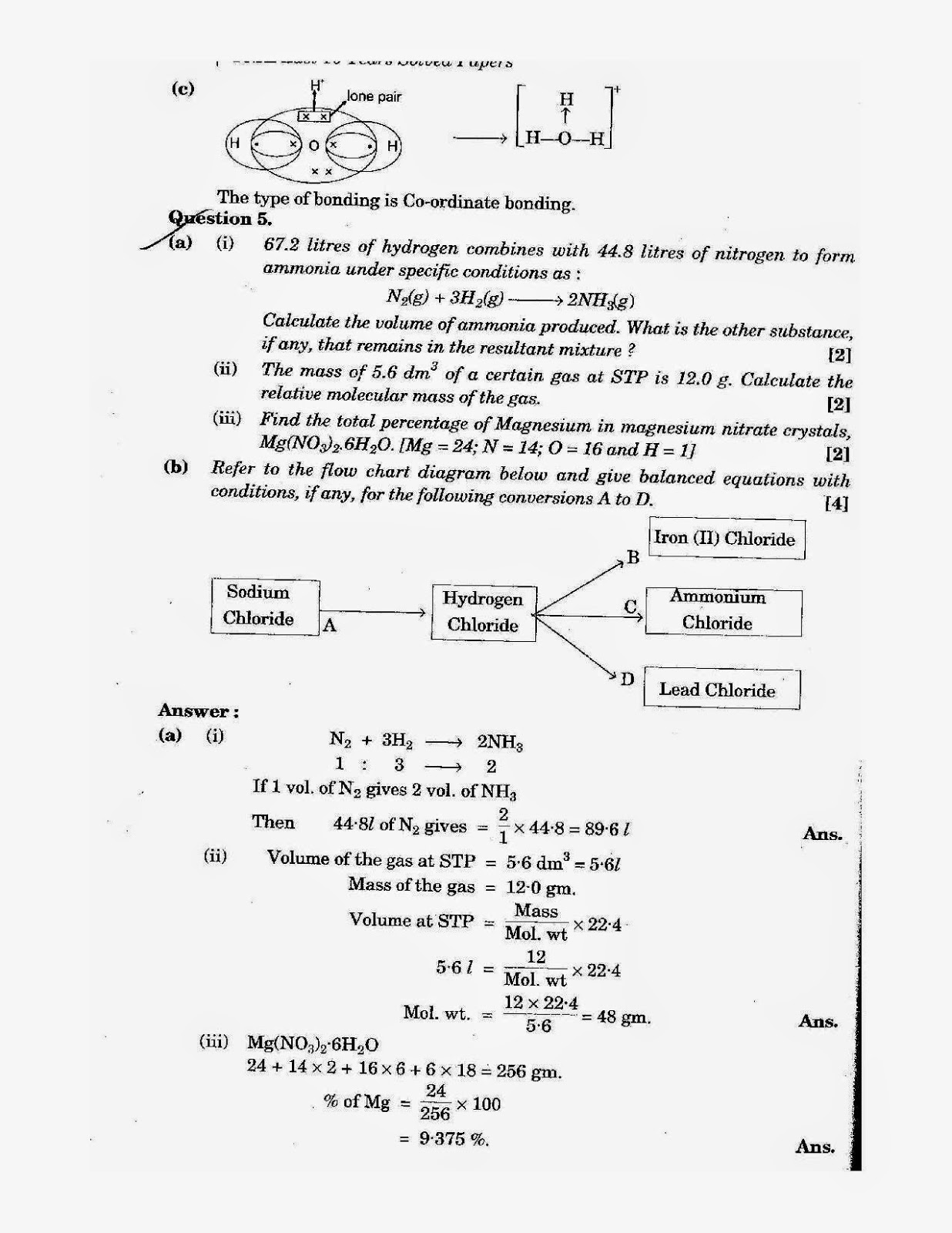 icse class 10th chemistry solved question paper 2011
