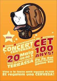 Flyer promocional concert Centenari del Centre Excursionista de Terrassa, Folleto promocional concerto centenario del Centro Excursionista de Terrassa, C.E.T. 100 anys CET 100 años cent anys cien años, CET 2011