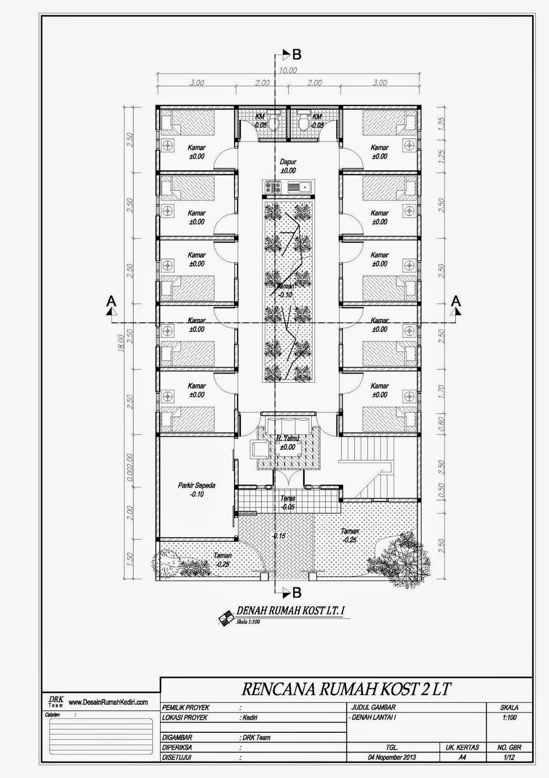 LT2 04 Rumah Kos Minimalis 2 Lantai Kota Kediri Jasa Desain