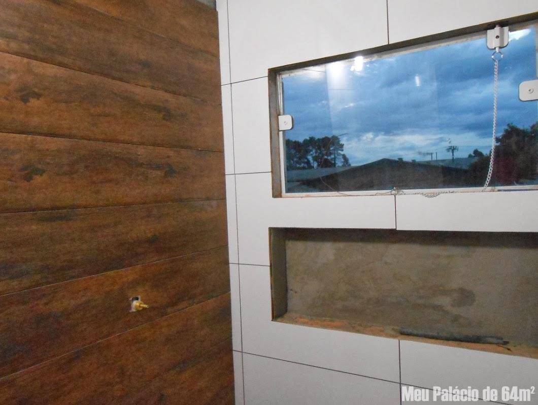 revestimento madeira não tem brilho nessa foto eu tinha acabado de  #366995 1060x798 Banheiro Bege Com Madeira