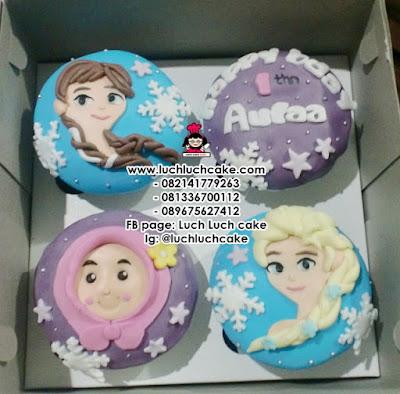 Cupcake Birthday 2d Fondant Tema Frozen