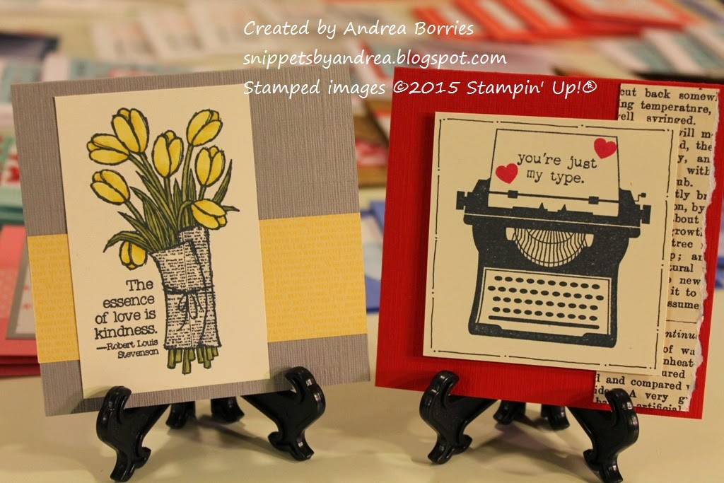 "Two valentines: one gray and yellow color scheme with tulips and the sentiment ""The essence of love is kindness"" and the other with red and black colors, a typewriter and the sentiment ""you're just my type."""