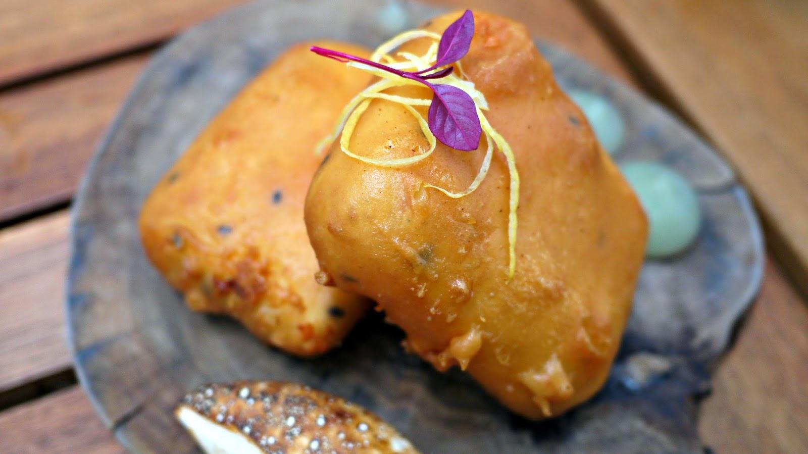 Mazi Feta tempura with sweet caper meringue and lemon marmalade