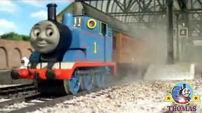 Steam tank Thomas train engine finished his jobs picked up Annie and Clarabel coaches at Knapford