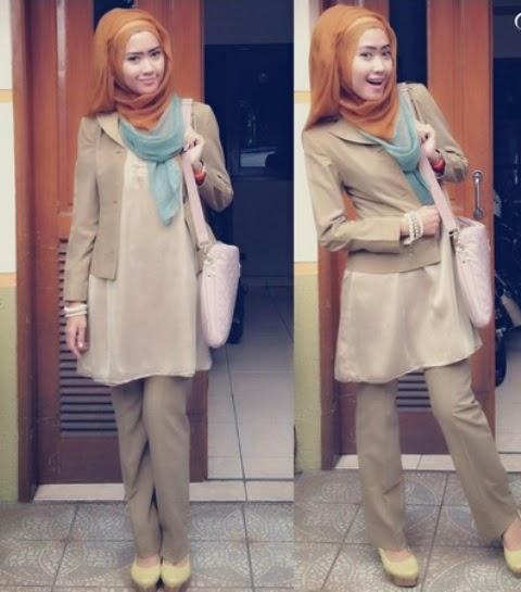 Baju kerja muslimah dengan hijab