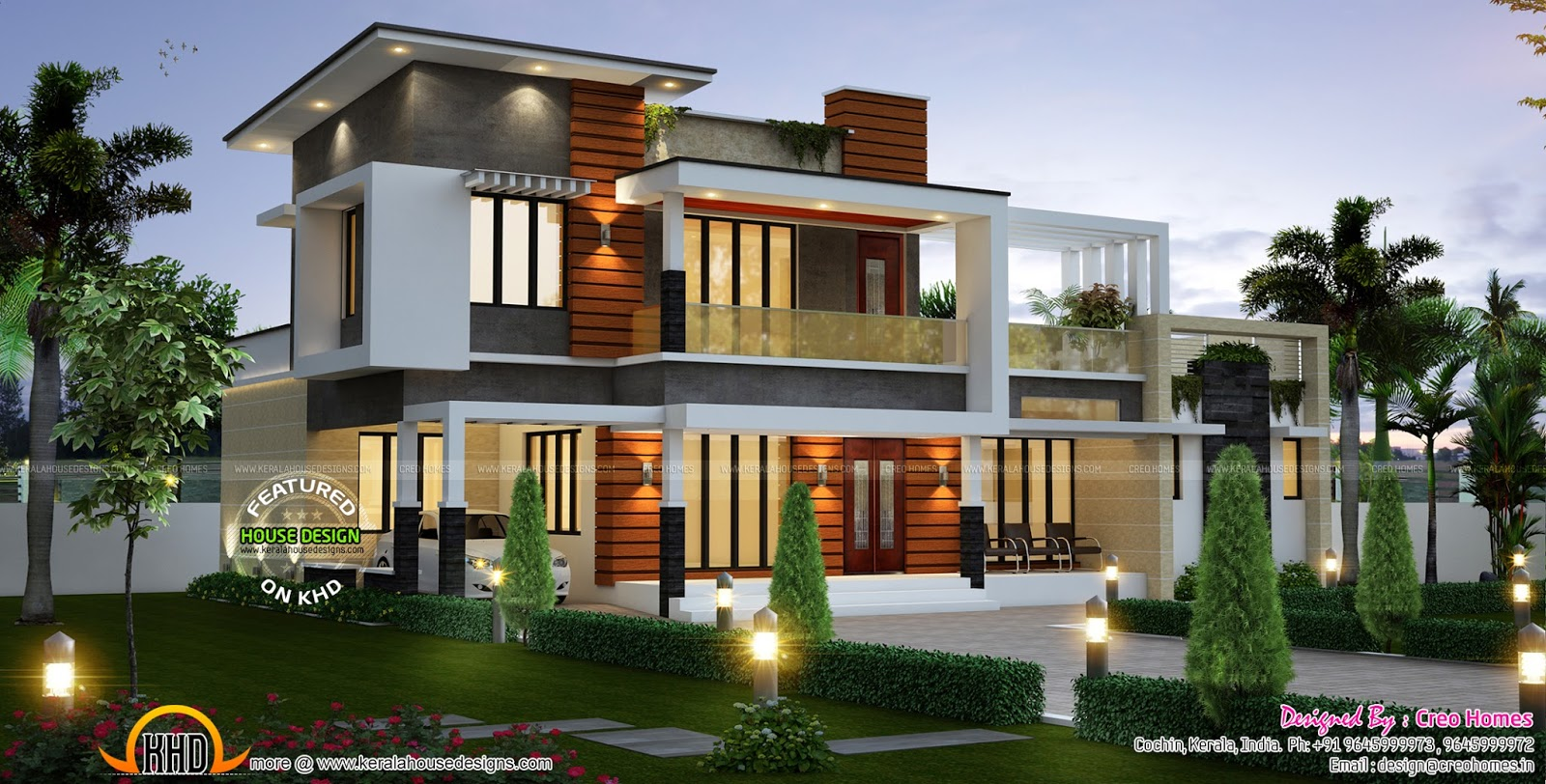 2075 sq ft modern contemporary house kerala home design for House plans in kerala with 2 bedrooms