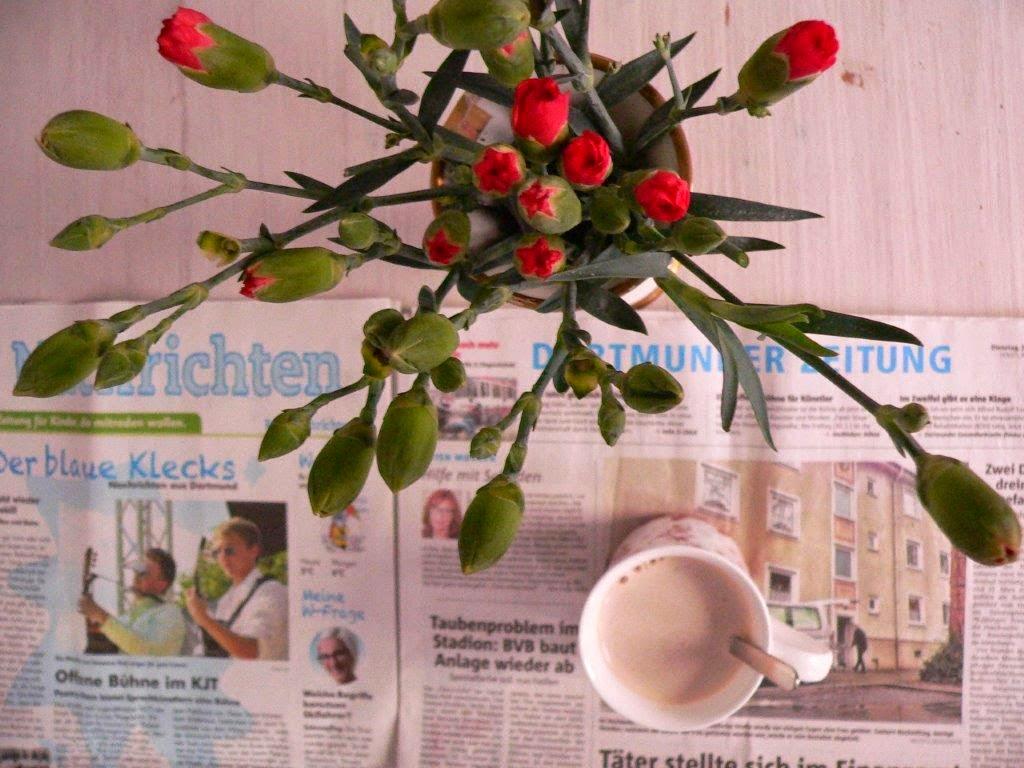 Blumenstrauß Nelken Vase Zeitung Dortmund Gemütlich zuhause Frühstückstisch