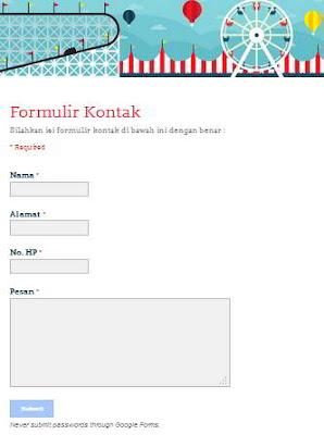 Cara Membuat Form Kontak Blog