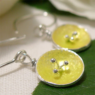 Enamel Poppy Earrings, Lemon Enamel Silver Poppy Flower Dangle Earrings
