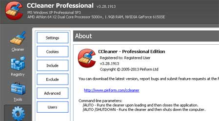 CCleaner Profesional & Bussines sudah register