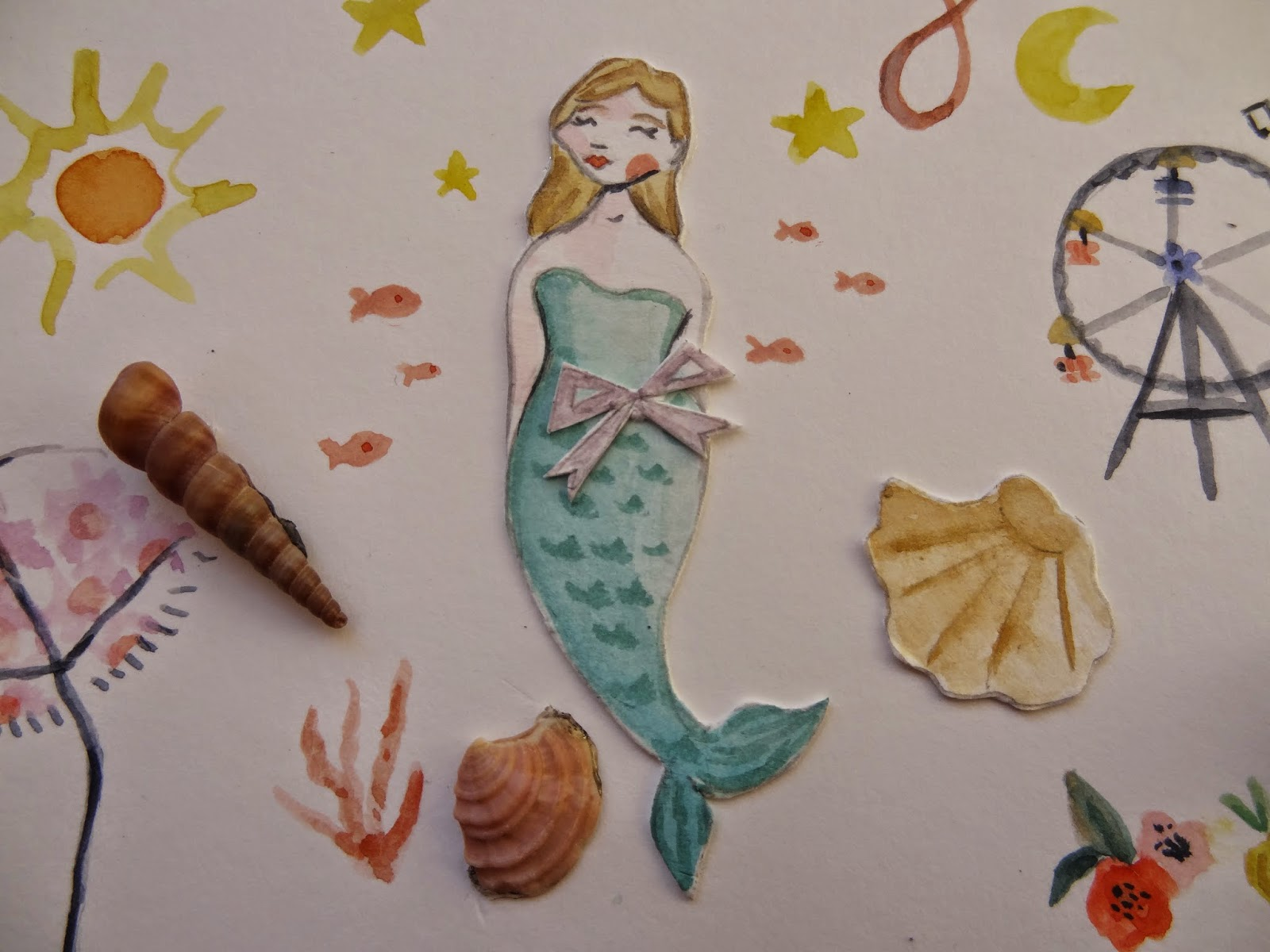 mermaid sea shell sun conchas sol mar ilustradora craft manualidades