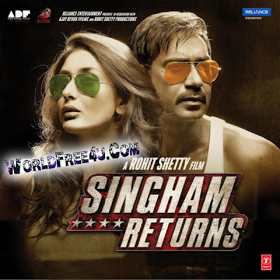 Poster Of Bollywood Movie Singham Returns (2014) 300MB Compressed Small Size Pc Movie Free Download worldfree4u.com