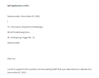 Contoh Surat Lamaran Kerja Bahasa Inggris, application letter sample