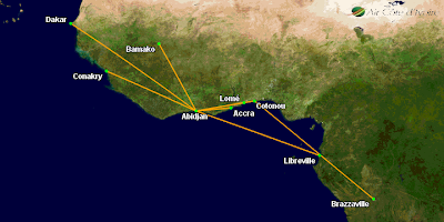 Air Cote d'Ivoire's Route Network