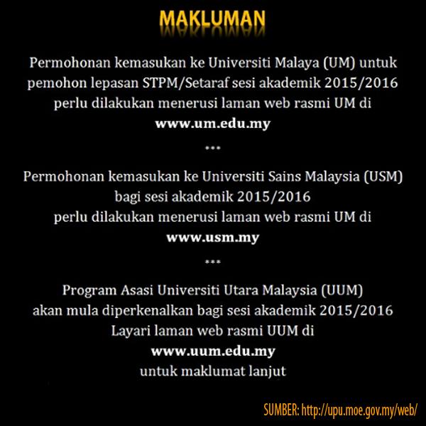 Permohonan Ke Universiti Malaya (UM) Sesi 2015/ 2016