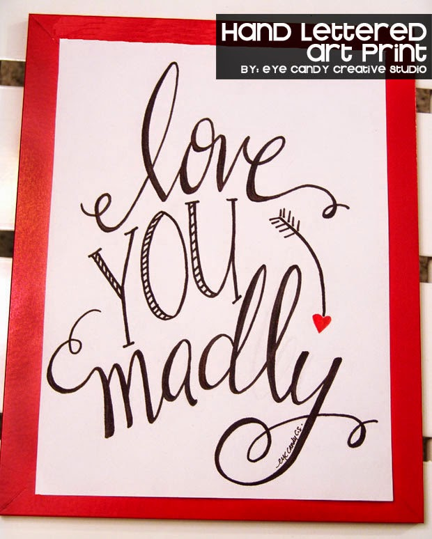 heart, arrow, love you madly art, wordart, hand lettered print, black and red