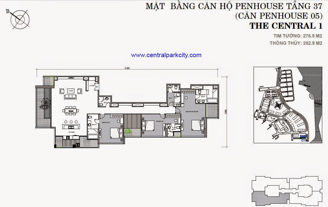 Vinhomes Central Park Penthouse - Căn số 05 tầng 37 - 3PN - 276.5m2