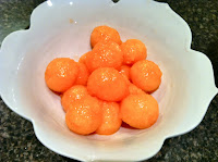 cantaloupe balls made with melon baller