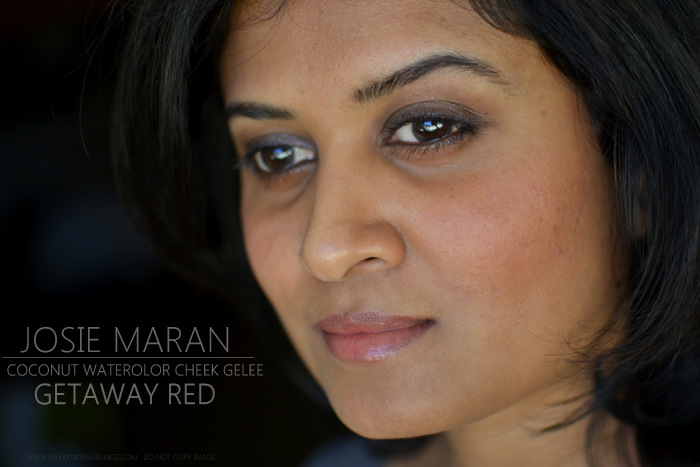 Josie Maran Coconut Watercolor Cheek Gelee Getaway Red Blush - Reviews Photos Swatches FOTD