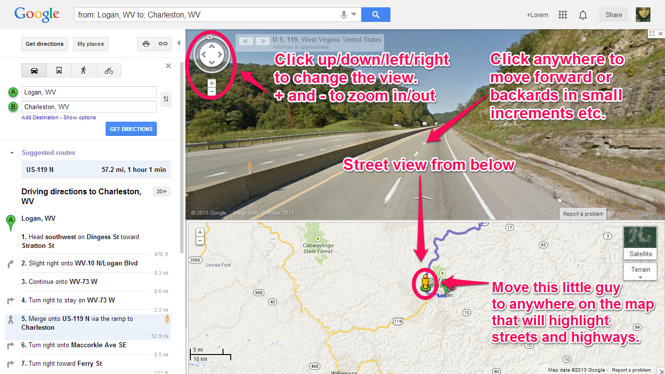 directions are easy to follow and interacting with the map is simple to do on the browser