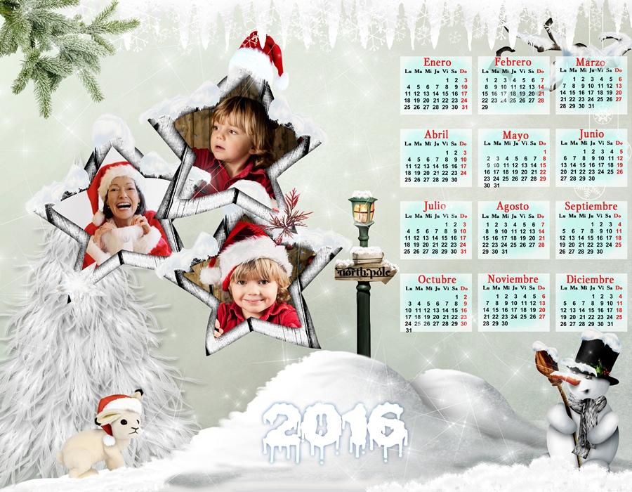 Calendarios para Photoshop Calendario para el 2016 de Navidad para