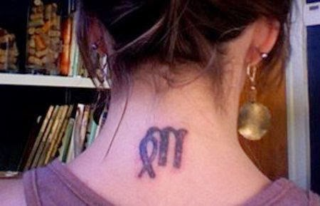 Nice Virgo Tattoo On Neck