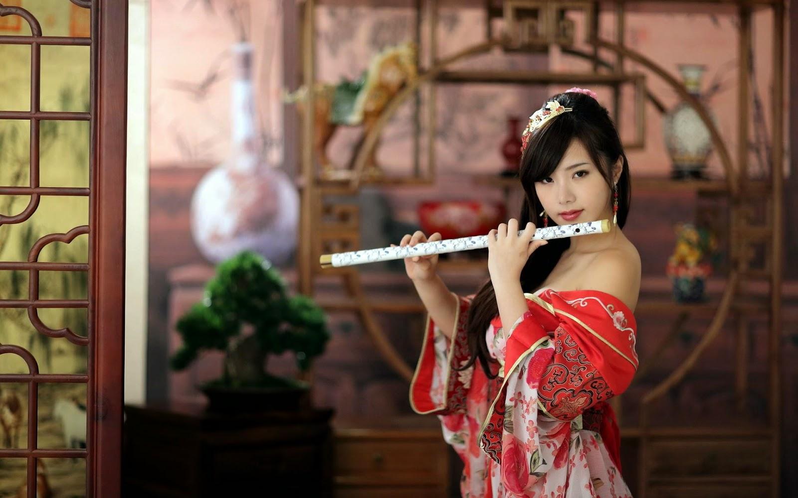 Download Girl beauty flute HD Wallpapers
