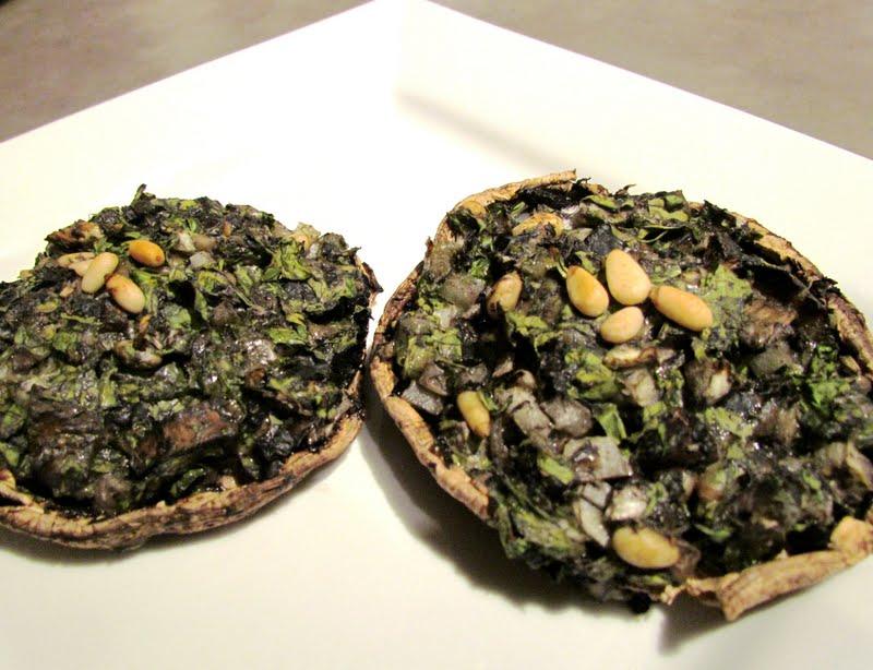second glance.: Spinach-stuffed Portobello mushrooms