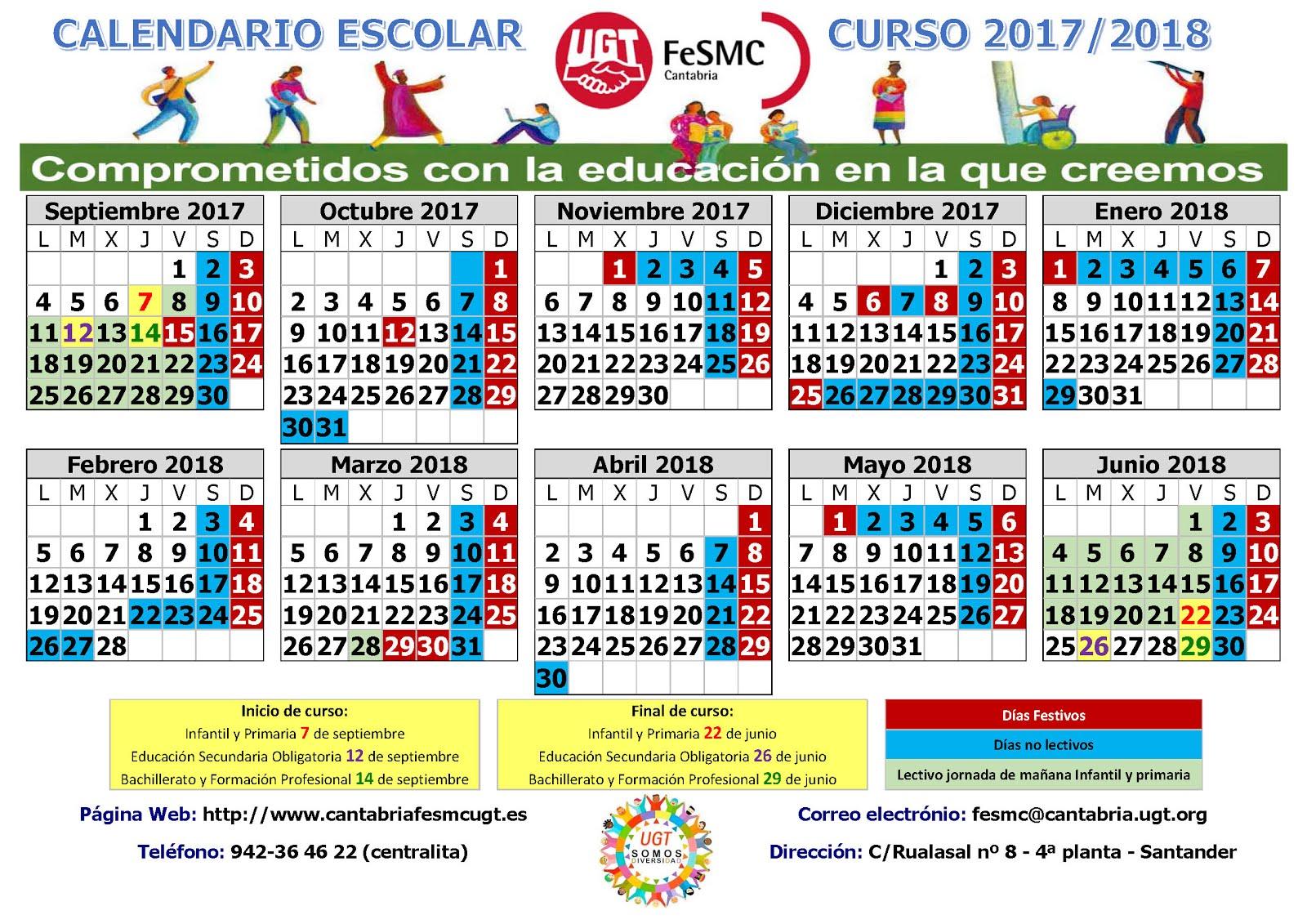 CALENDARIO ESCOLAR CURSO 2017/2018 CANTABRIA