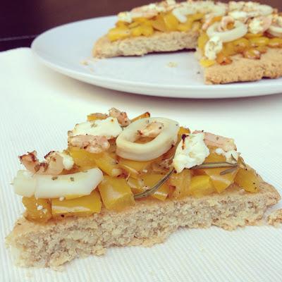 galette poivrons crevettes calamars