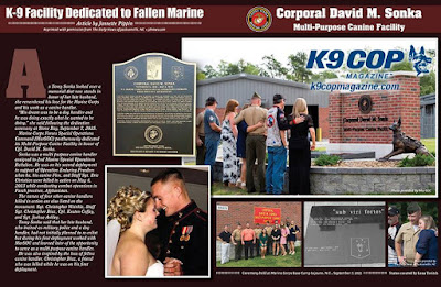 K9 Cop Magazine article on Cpl. David Sonka Multi Purpose Canine Facility dedication