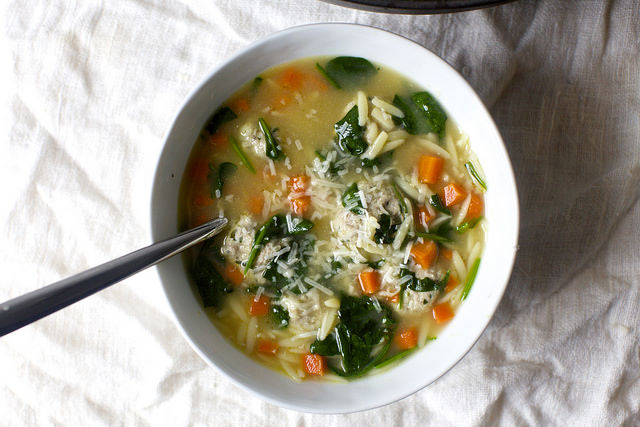 Greens Orzo And Meatball Soup Smitten Kitchen Punch The Clock