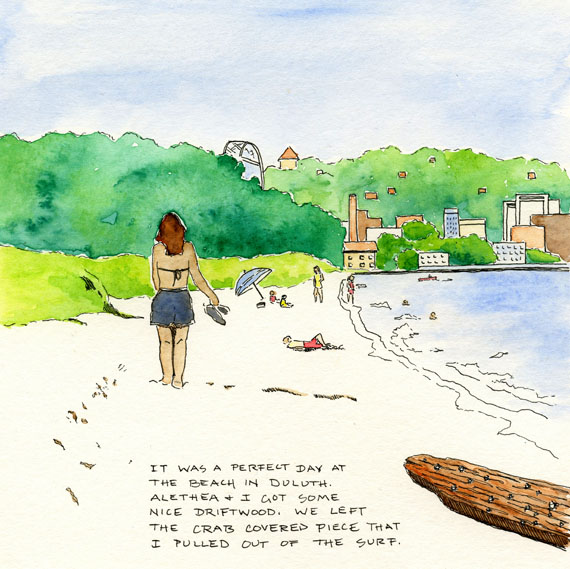 artist journal drawing of the beach in Duluth Minnesota