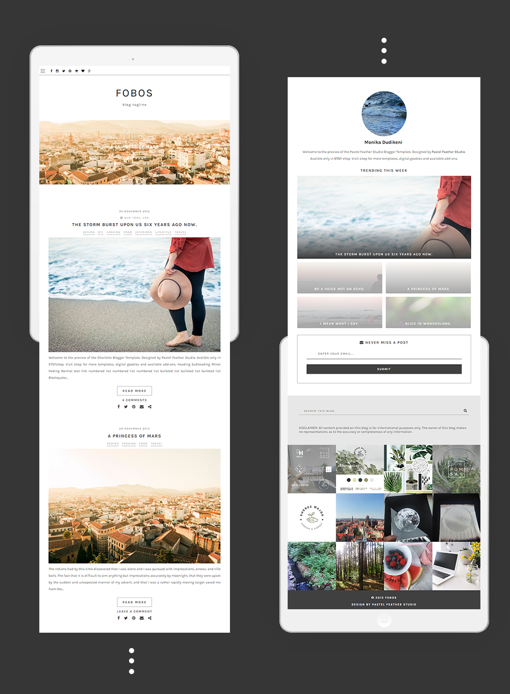 new blogger templates for 2016 | P△STEL FEATHER STUDIO