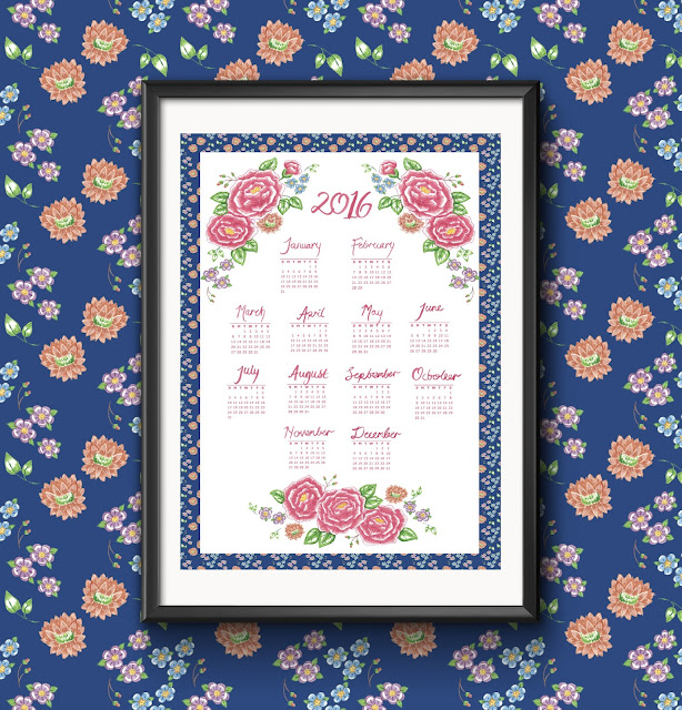 2016 calendar tea towel digital print etsy spoonflower retro floral blue