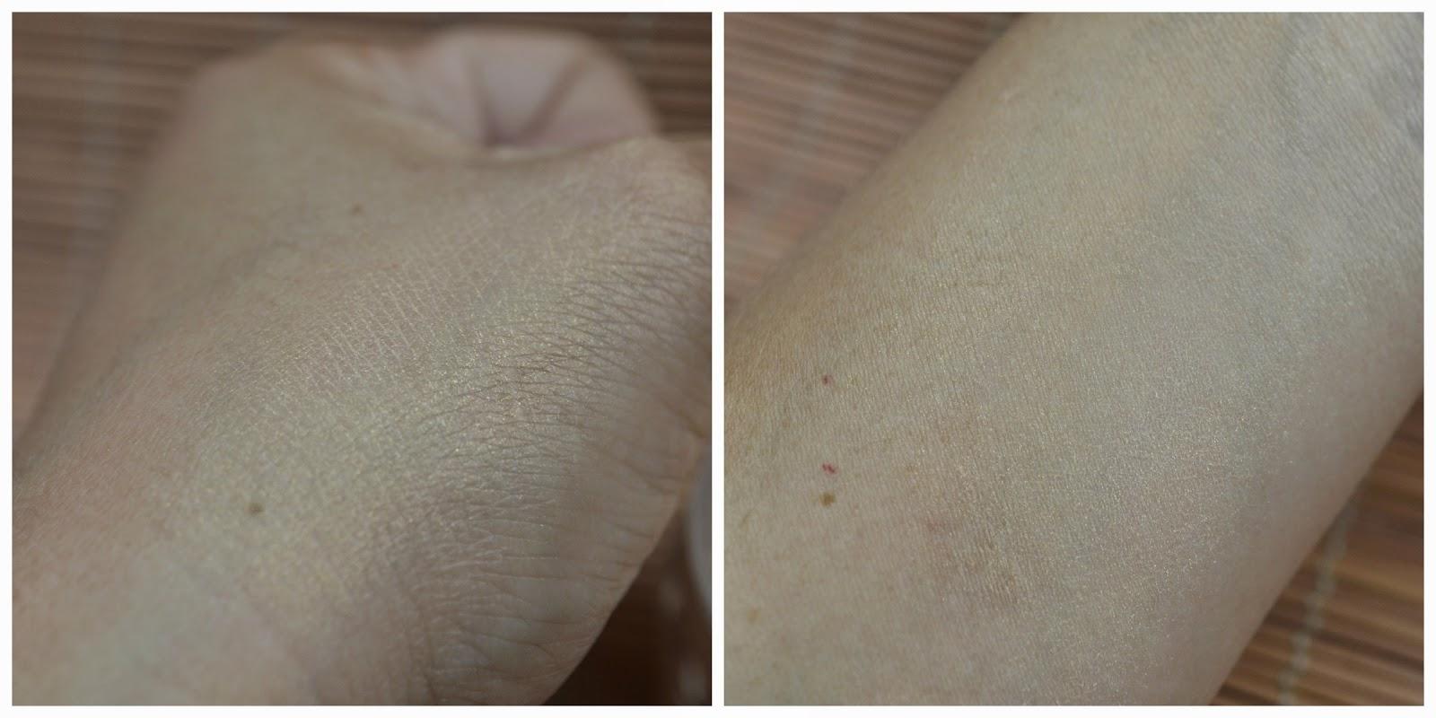 swatches no dorso da mão e no pulso