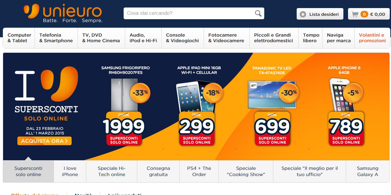 Offerte volantino Unieuro smartphone tv tablet fino all'1 marzo 2015