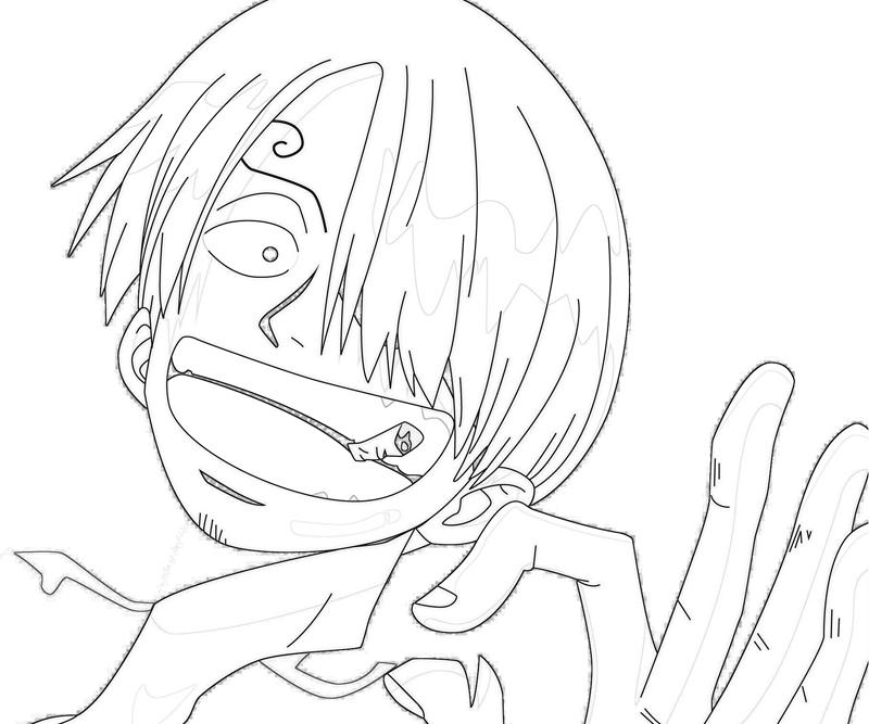 One Piece Sanji Happy Coloring Pages