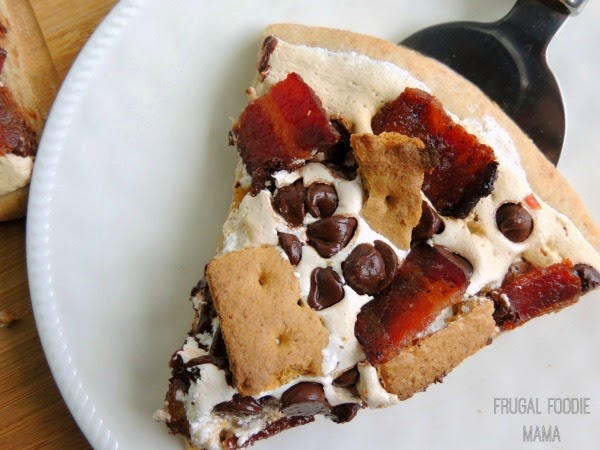 Candied Bacon S'mores Pizza via thefrugalfoodiemama.com