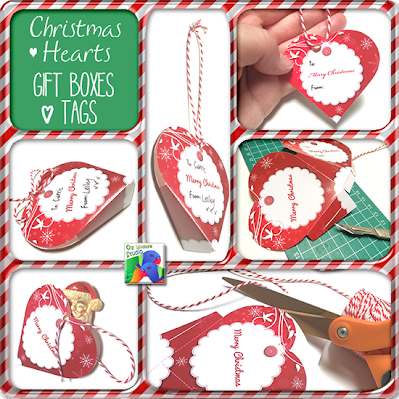 Get these printable Xmas Hearts Gift Boxes & Tags