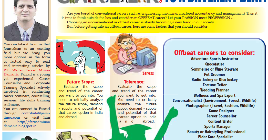 Offbeat Careers - Article by Farzad Minoo Damania [Parsi Times ...