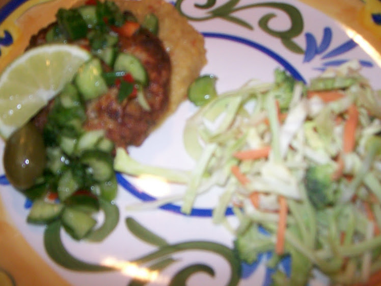 Salmon patties spicy lentils and broccoli slaw
